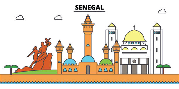 senegal outline city skyline, linear illustration, banner, travel landmark, buildings silhouette,vector - senegal stock illustrations