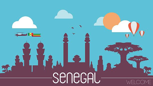 senegal panoramę sylwetka - senegal stock illustrations