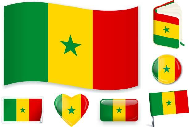 senegalese_flag - senegal stock illustrations