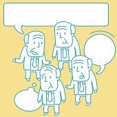 Senior Adult Businessman (Grandfather, Professor) Doodle Emotion, Talking, Smiling, Angry