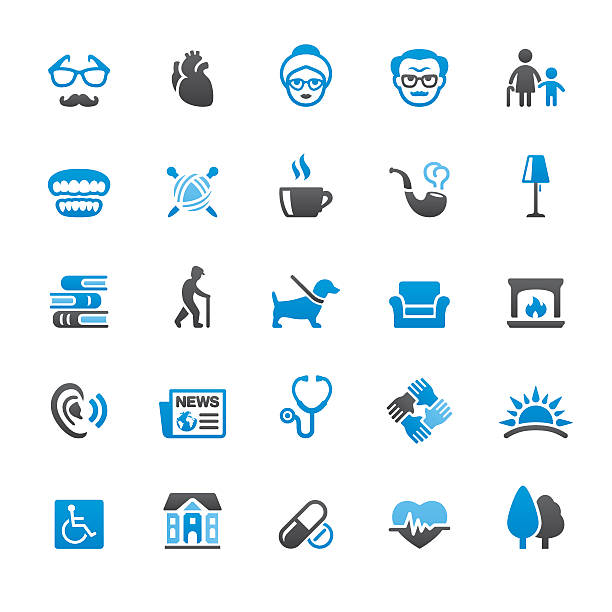 senior adult related vector icons - care home stock illustrations