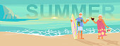 Summer beach landscape background. Holidays and vacations banner with Senior age couple family people on vacation. Flat Art Vector illustration.