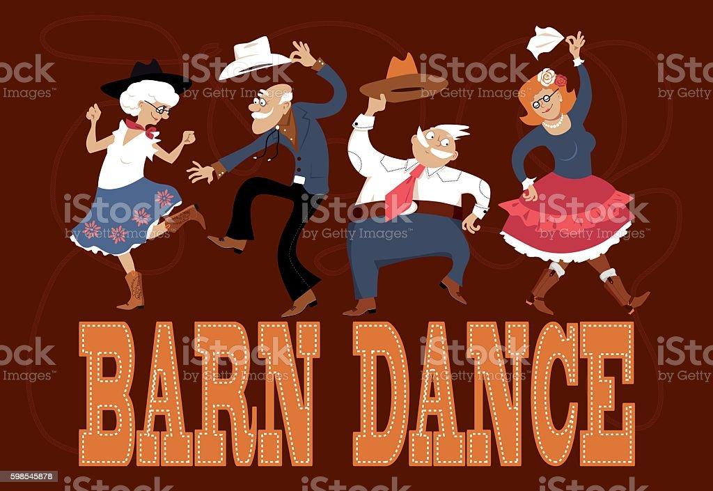 Senior barn dance vector art illustration