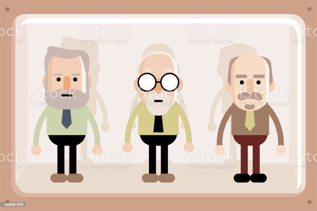 Senior business men in window box vector art illustration