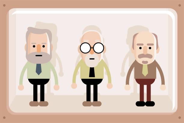 senior business men in window box - old man puppet stock illustrations, clip art, cartoons, & icons