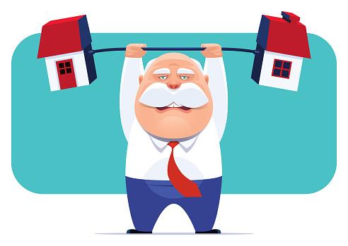 senior businessman lifting barbell house