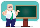 vector illustration of senior teacher presenting with blackboard