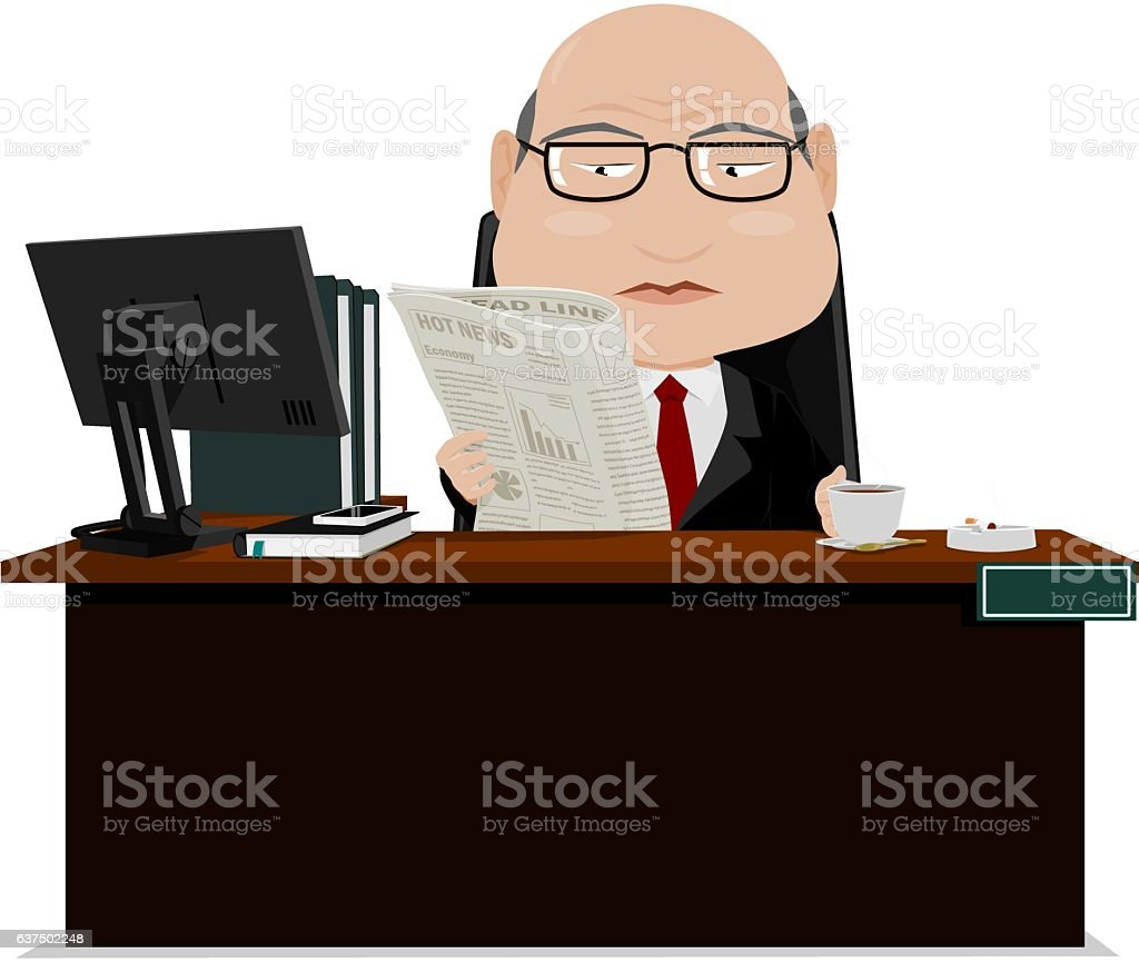 Senior businessman reads a newspaper vector art illustration