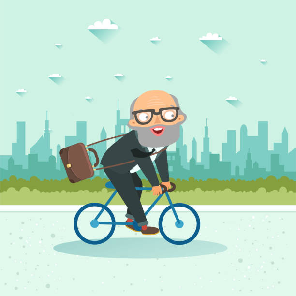 senior businessman riding a bicycle on city background - old man on bike stock illustrations, clip art, cartoons, & icons