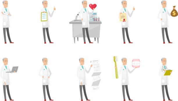 senior caucasian doctor vector illustrations set - old man showing thumbs up cartoons stock illustrations, clip art, cartoons, & icons