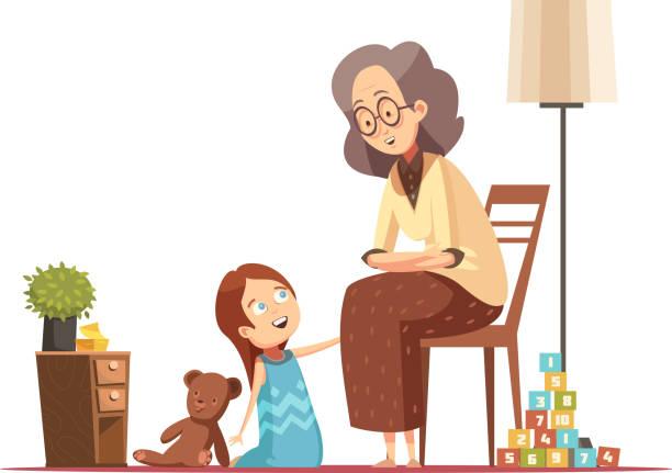 ilustraciones, imágenes clip art, dibujos animados e iconos de stock de personaje senior mujer de dibujos animados retro - nieta