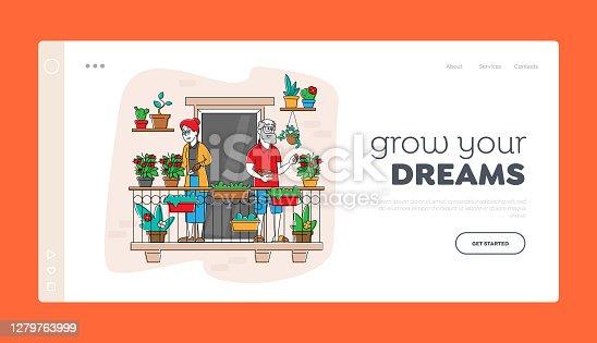 istock Senior Characters Enjoying Gardening Hobby Landing Page Template. Aged Gardeners Harvesting Tomatoes on Balcony Garden 1279763999