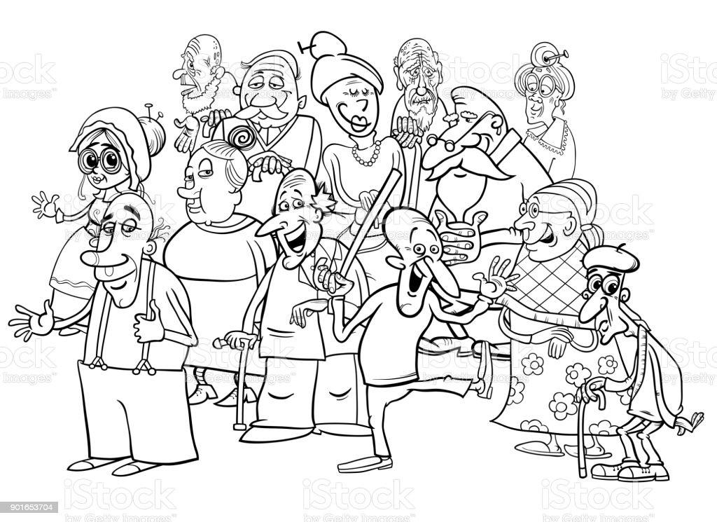 Ilustración de Grupo De Altos Personajes Dibujos Animados Para ...