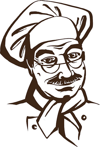 senior chef wearing hat and uniform. hand drawing logo - old man hats pictures stock illustrations, clip art, cartoons, & icons