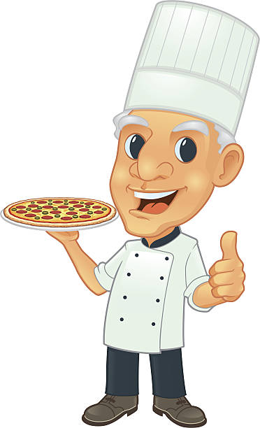 senior chef with pizza - old man showing thumbs up cartoons stock illustrations, clip art, cartoons, & icons