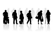 Senior citizen silhouette illustration of elderly walking