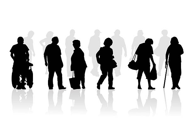 Senior citizen silhouette illustration of elderly walking vector art illustration