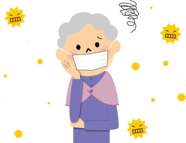 senior citizen with hay fever - くしゃみ 日本人点のイラスト素材/クリップアート素材/マンガ素材/アイコン素材
