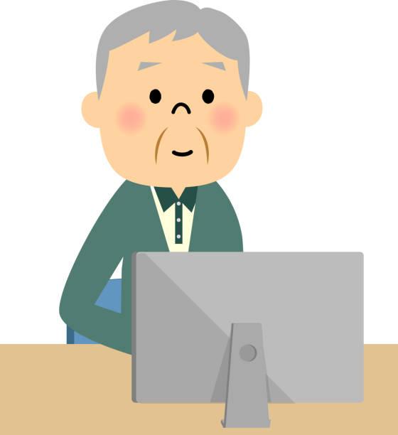 ilustrações de stock, clip art, desenhos animados e ícones de senior citizen,pc - nisa