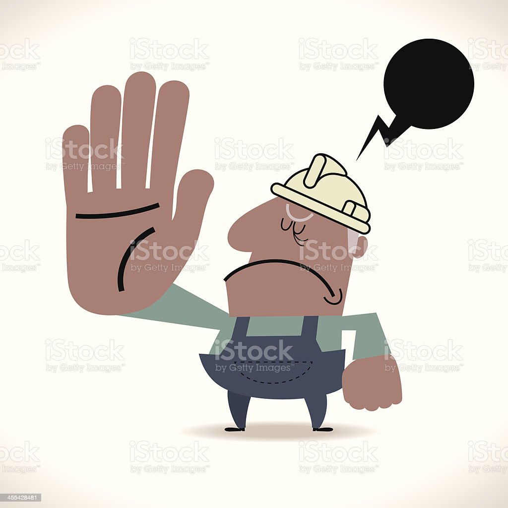 Senior Construction Worker Showing Stop Hand Sign royalty-free senior construction worker showing stop hand sign stock vector art & more images of adult