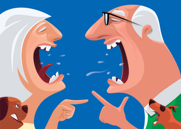 senior couple arguing and pointing - old man crying clip art stock illustrations, clip art, cartoons, & icons