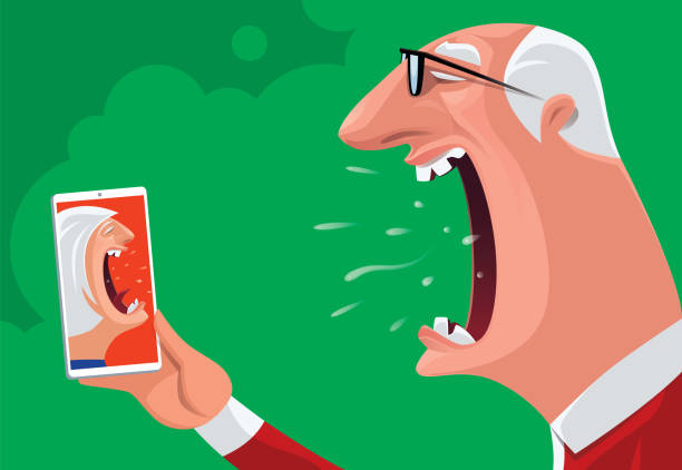 senior couple arguing via smartphone - old man crying stock illustrations, clip art, cartoons, & icons