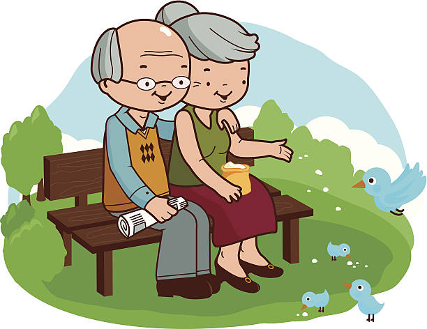 senior couple at the park - old man clipart stock illustrations, clip art, cartoons, & icons