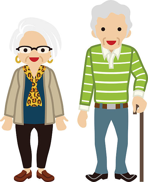 senior couple - cane - old man smiling silhouettes stock illustrations, clip art, cartoons, & icons