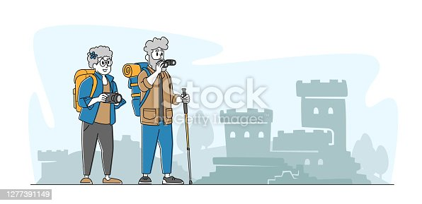 istock Senior Couple Characters Making Picture of Ancient Architecture Landmark in Trip. Elderly People Traveling with Camera 1277391149