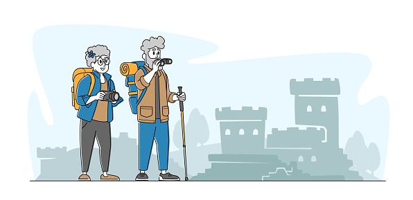 Senior Couple Characters Making Picture of Ancient Architecture Landmark in Trip. Elderly People Traveling with Camera