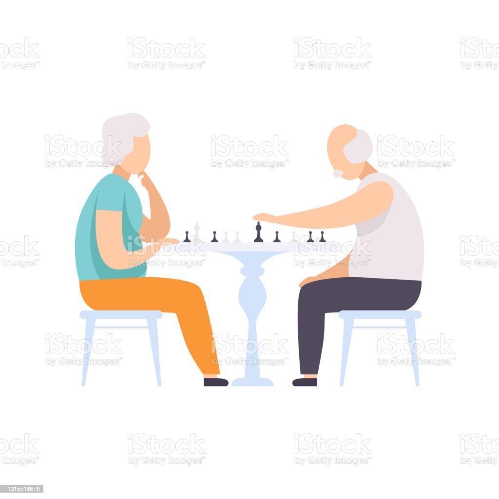 Älteres Paar Figuren Schach spielen, Vektor ältere Menschen führen ein aktives Leben Soziales Konzept-Illustration auf weißem Hintergrund – Vektorgrafik