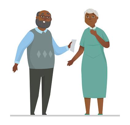 Senior couple - colorful flat design style illustration
