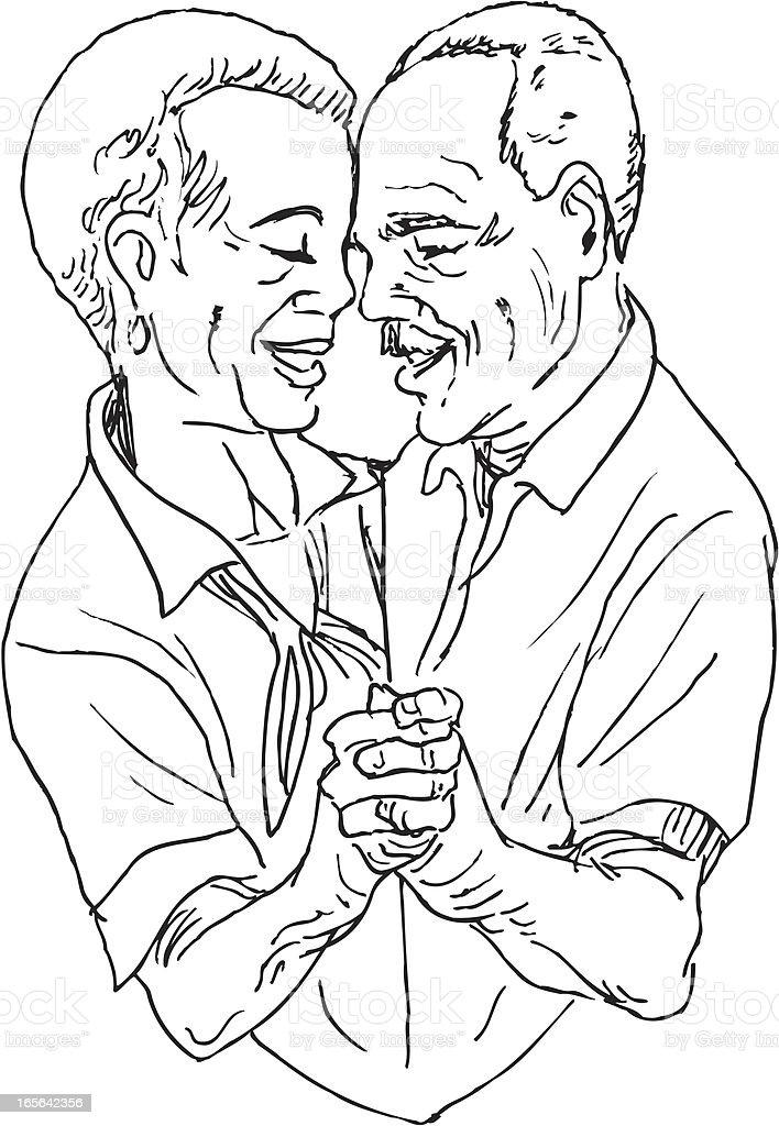 Senior Couple Dancing vector art illustration