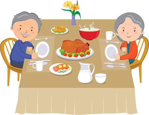 ilustrações de stock, clip art, desenhos animados e ícones de par sênior comer o jantar - woman eating salmon