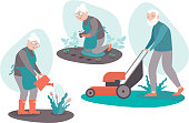 Senior People Gardening Aged Male and Female Characters Planting seedlings, Harvesting, watering flowers, cutting the grass. Active Lifestyle of Retired Men and Women. Cartoon Flat Vector Illustration