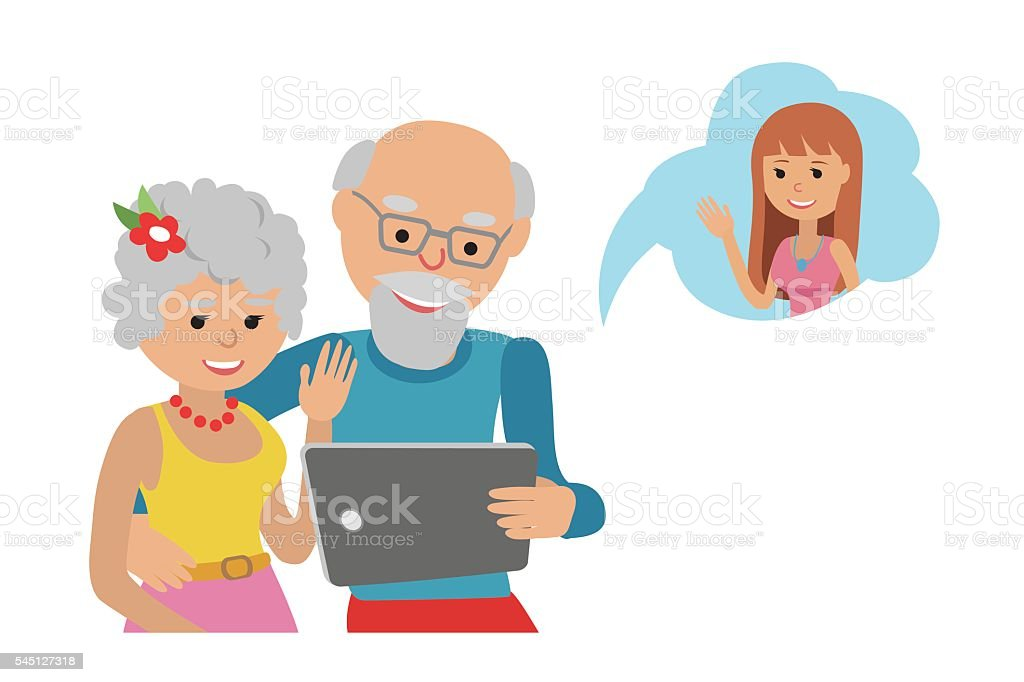 Senior Couple Grandparents Make Video Call With Tablet Stock
