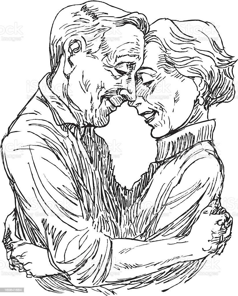 Senior Couple Hugging or Elderly Heterosexual Embrace royalty-free stock vector art