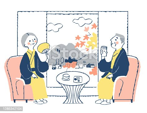 istock A senior couple in a yukata relaxing in a Japanese accommodation room 1285342104