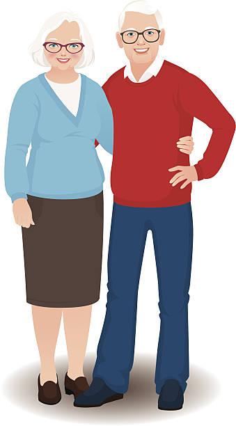 senior couple in full length - old man glasses cartoon stock illustrations, clip art, cartoons, & icons