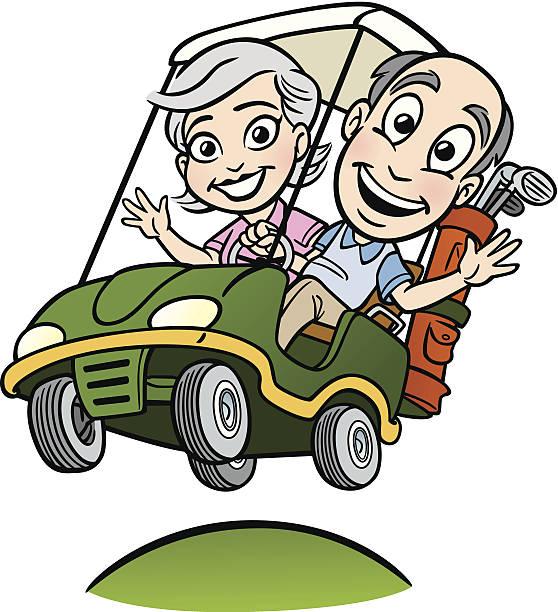 ilustrações de stock, clip art, desenhos animados e ícones de par sênior no carrinho de golfe - enjoying wealthy life