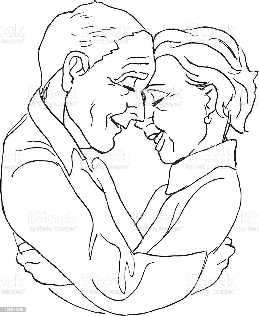 Senior Couple in Love - Hugging royalty-free senior couple in love hugging stock vector art & more images of adult