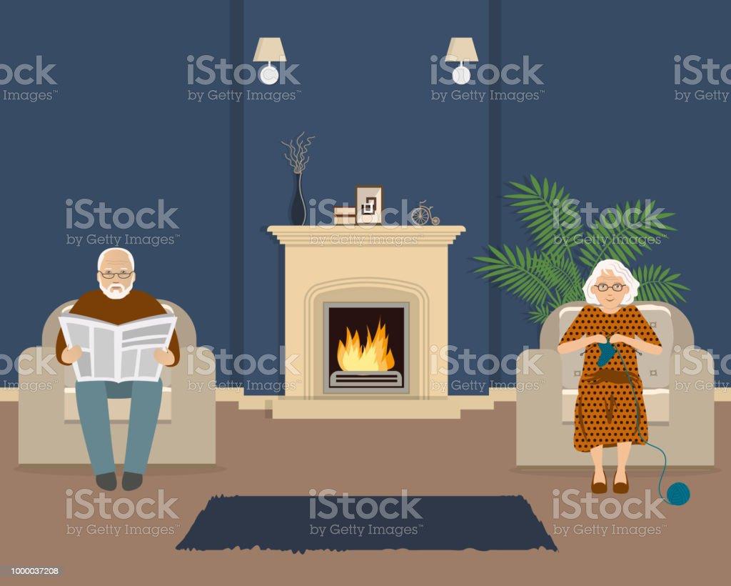 Alteres Paar Sitzt Im Wohnzimmer Neben Dem Kamin Stock Vektor Art Und Mehr Bilder Von Alt Istock