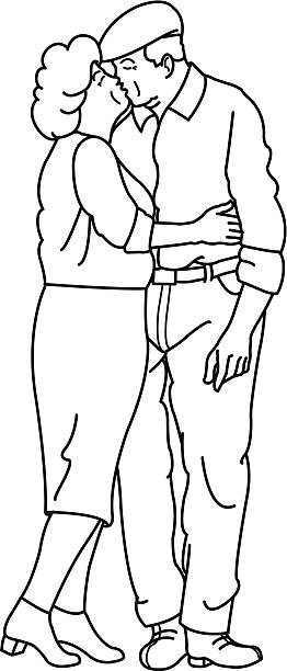 senior couple kissing - old man kissing stock illustrations, clip art, cartoons, & icons