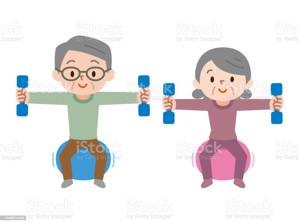 Senior Couple Lifting Dumbbells While Sitting On Exercise Ball Stock Illustration Download Image Now Istock