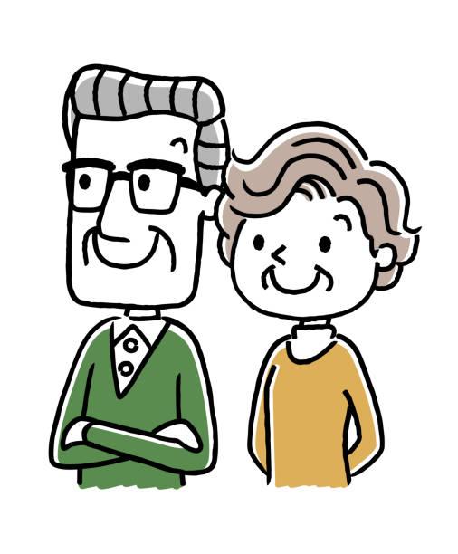 年配のカップル: 老後、将来 - 老夫婦点のイラスト素材/クリップアート素材/マンガ素材/アイコン素材