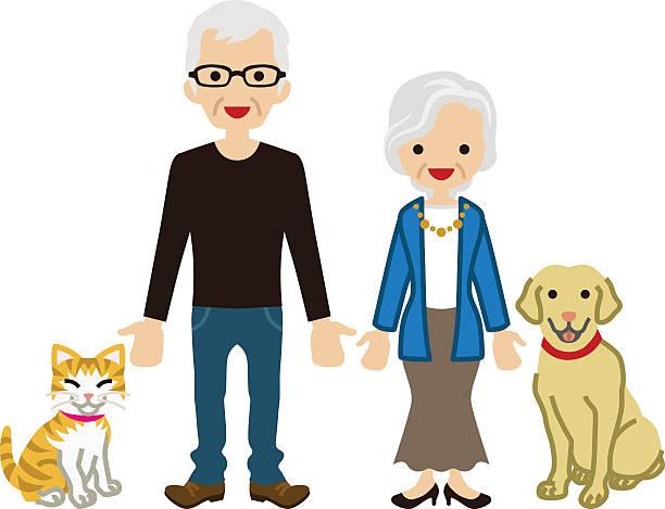 senior couple - pets - old man glasses stock illustrations, clip art, cartoons, & icons