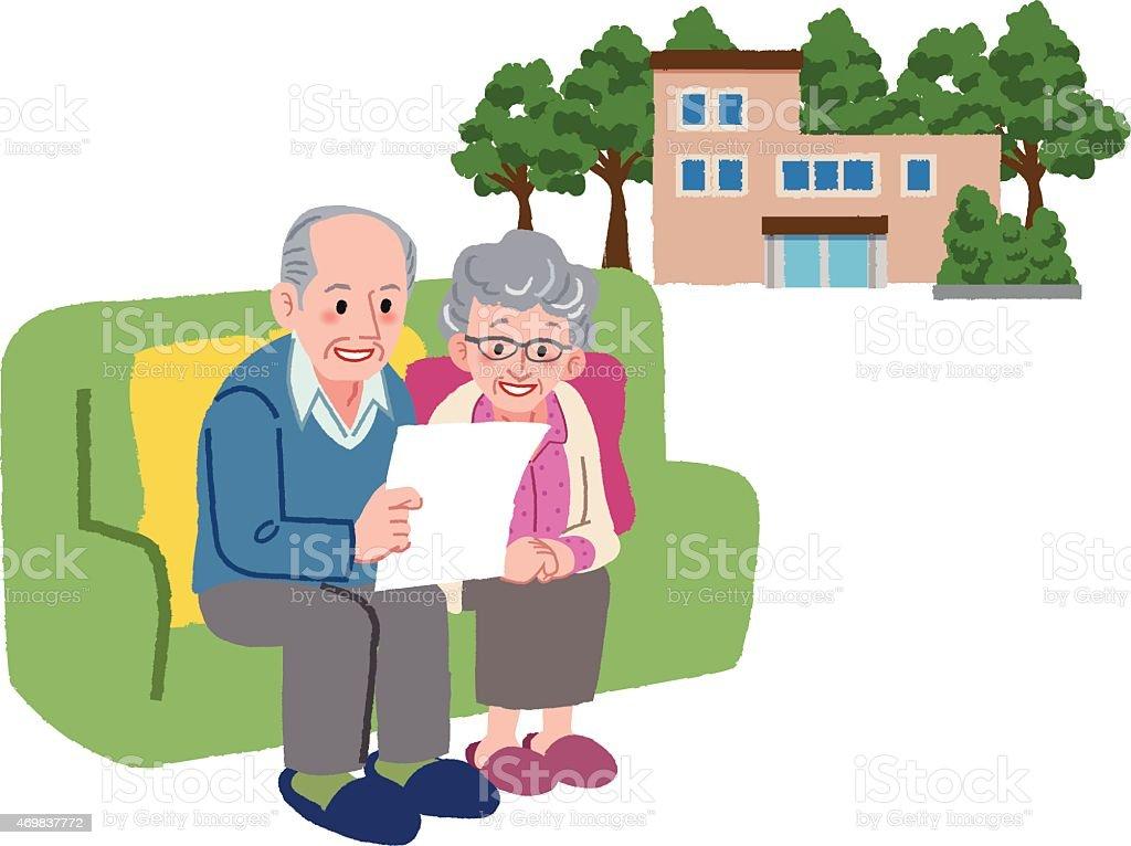 Altes Paar Planung zu ihrem Ruhestand nach Hause – Vektorgrafik