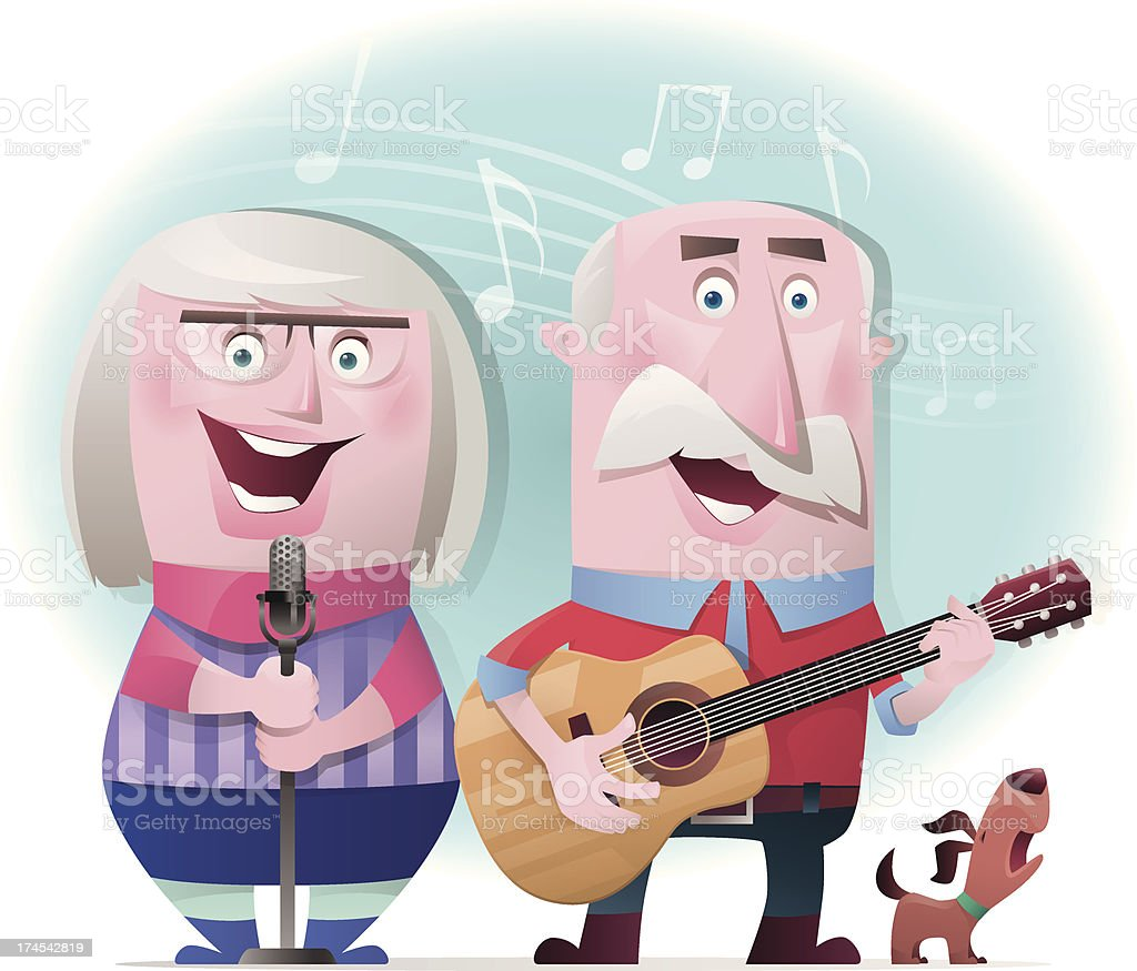 senior couple playing guitar and singing royalty-free senior couple playing guitar and singing stock vector art & more images of adult
