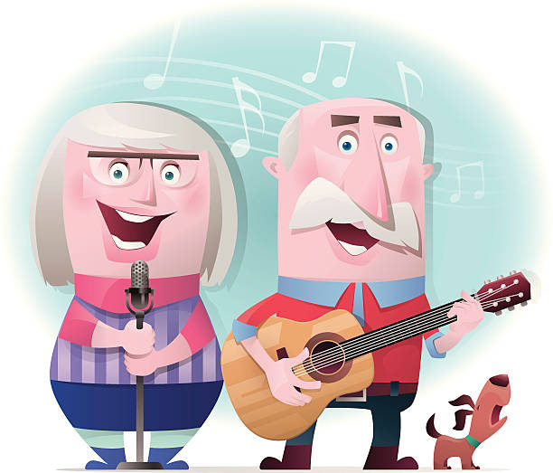 senior couple playing guitar and singing - old man funny cartoon stock illustrations, clip art, cartoons, & icons