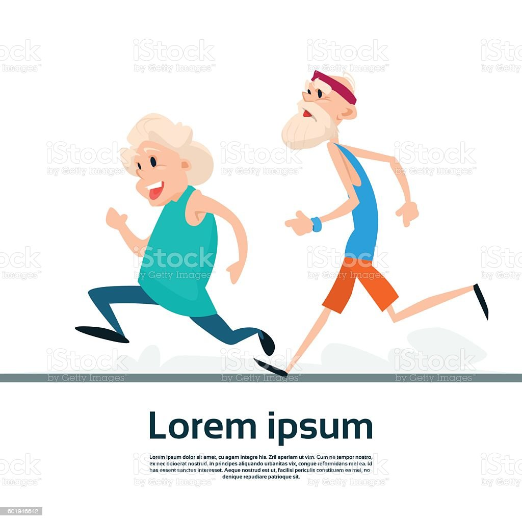 senior couple running old man woman joggers sport fitness exercise